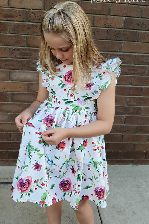 Christmas Floral Pinafore Dress