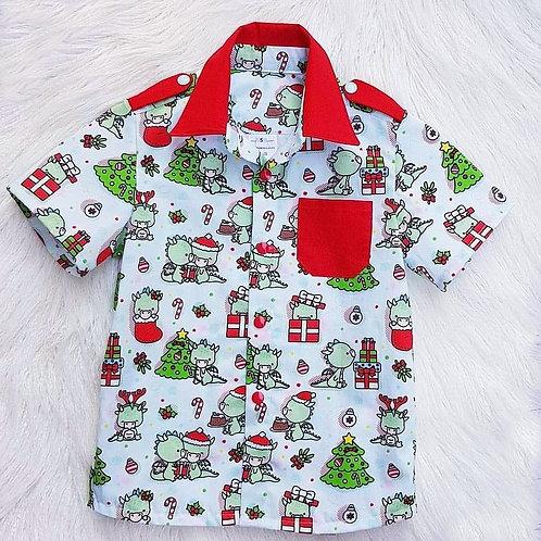 Short Sleeve Xmas Dino Shirt