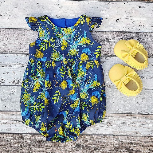 Wattle, Australian floral, girls playsuits, girls scoop back dress, mocs