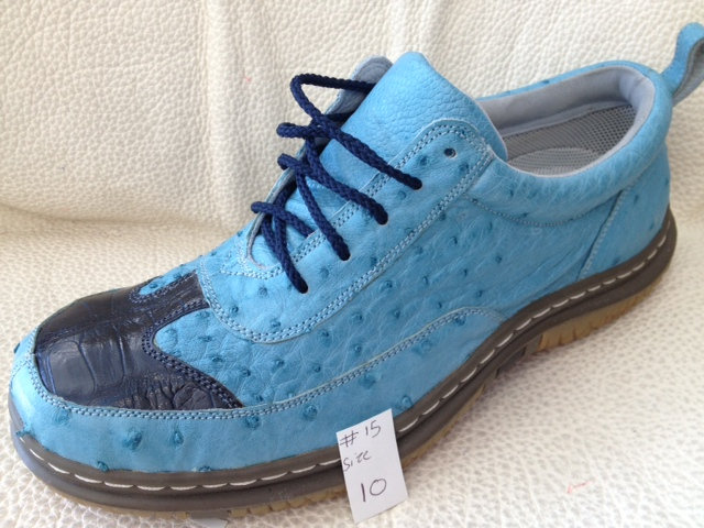 Sky Blue Ostrich & Crocodile Tennis Shoe