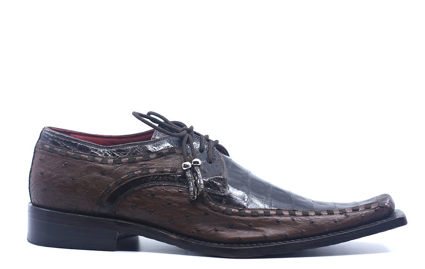 Brown Croc and Ostrich Dress Shoe US 10