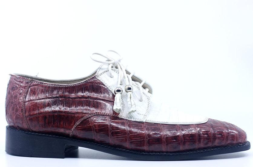 Burgundy and White Full Croc Dress Shoe US 9.5