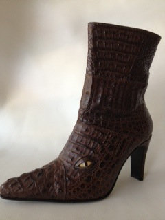 Hornback Crocodile Boot with Eyes