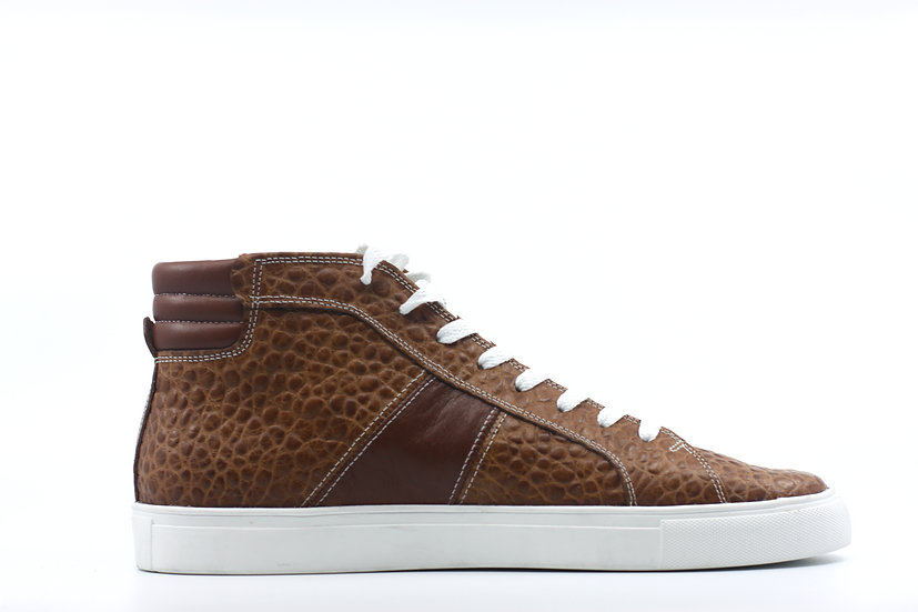 Textured Leather High Top Sneaker