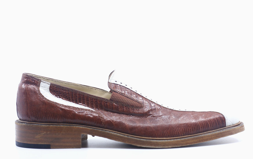 Cognac and White Lizard and Alligator Loafer US 11
