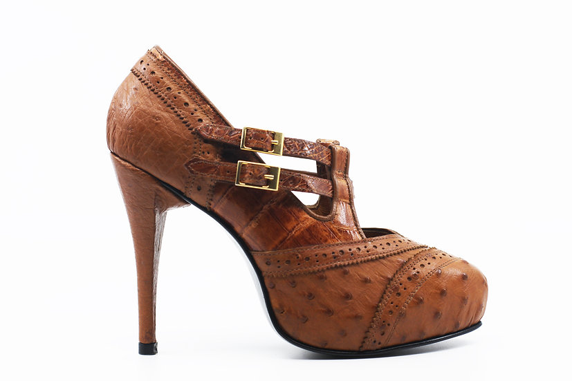 Cognac Crocodile Heel Women's 8