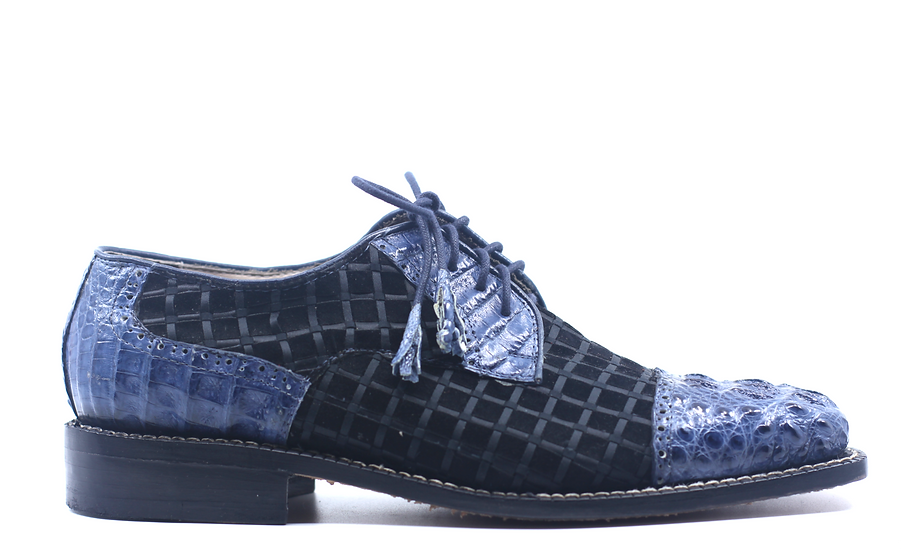 Navy Croc and Black Leather Dress Shoe US 9.5