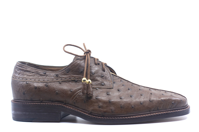 Brown and Tan Ostrich Dress Shoes US 10.5
