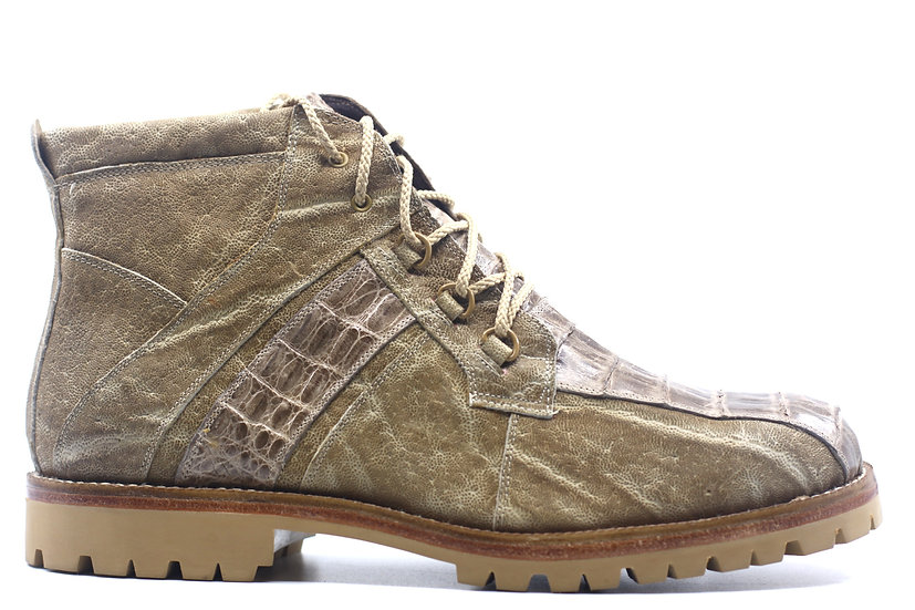 Tan Croc and Leather Combat Boot US 10.5