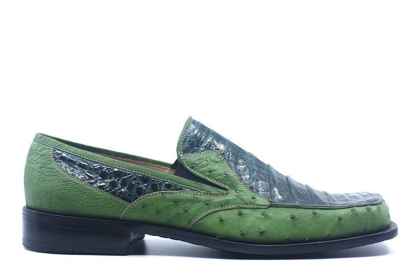 Green Crocodile and Ostrich Loafer US Men's 11