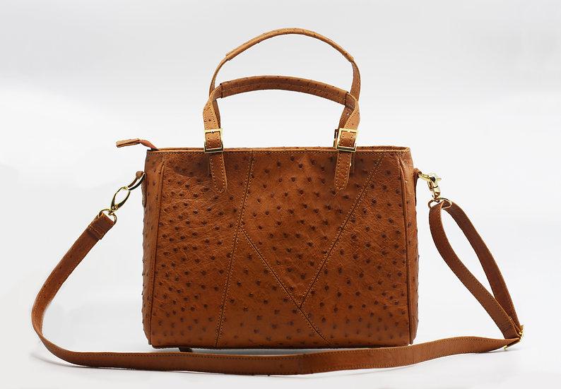 Cognac Ostrich Handbag