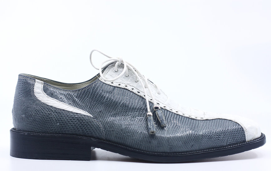 Grey and White Lizard and Alligator Dress Shoes 10
