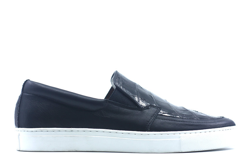 Alligator Belly and Leather Slip-On