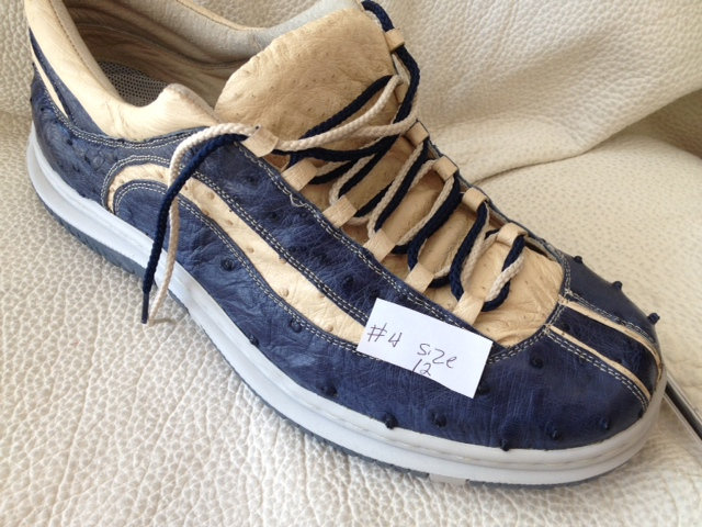 Blue & Beige Ostrich Tennis Shoe