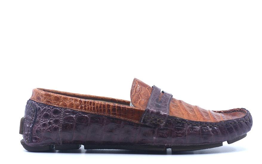 Burgundy and Cognac Croc Driving Shoe US 10.5