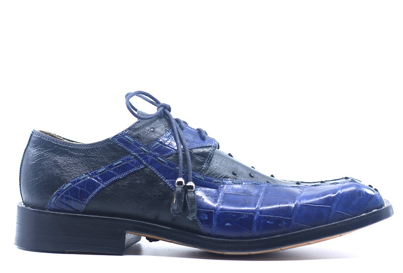 Blue and Navy Alligator and Ostrich Dress Shoe US 11