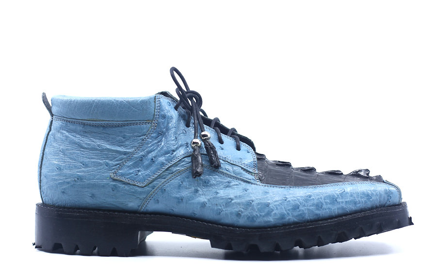 Blue and Black Ostrich and Croc Boot US 10.5