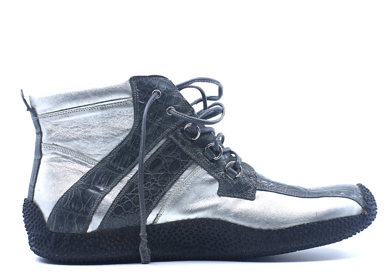 Silver Croc and Leather Sneaker US 11