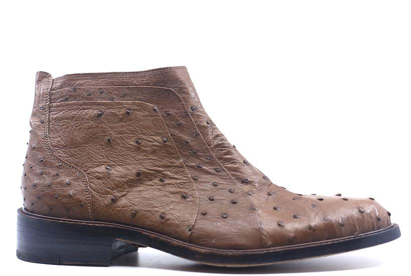 Brown Ostrich Dress Boot US 10