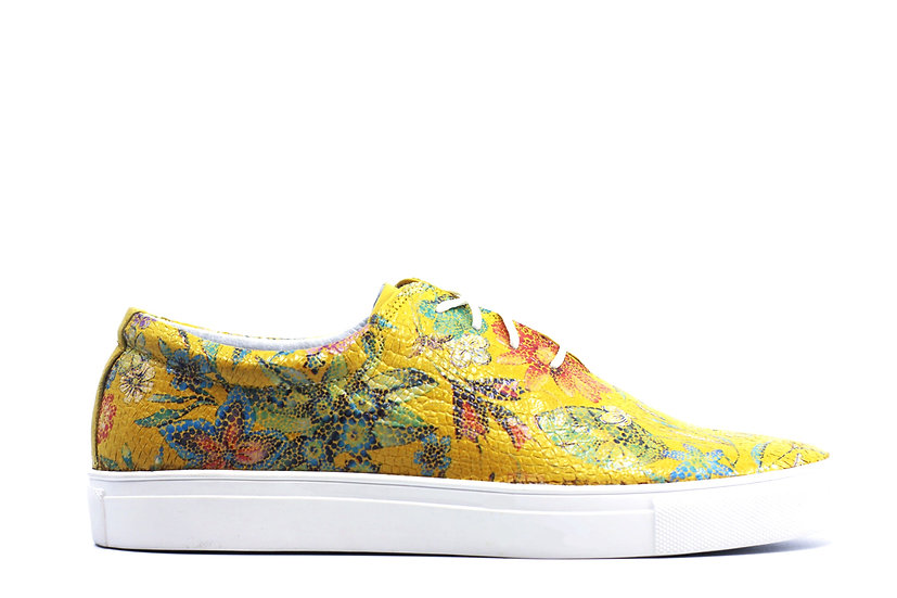 Women's Floral Leather Sneaker