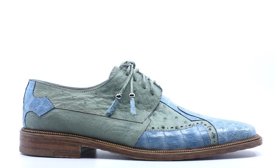 Blue/Green Croc and Ostrich Dress Shoe US 11