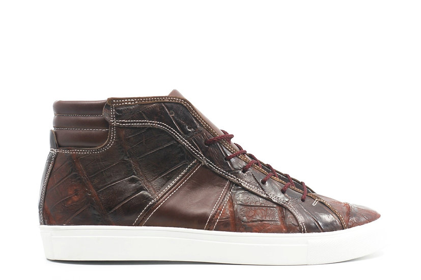 Alligator & Leather High Top Sneaker