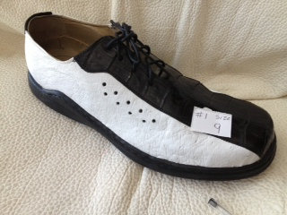 Black & White Ostrich Tennis Shoe