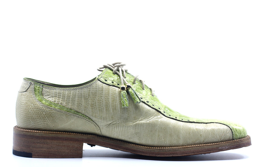 Beige and Green Alligator and Lizard Dress Shoe US 11