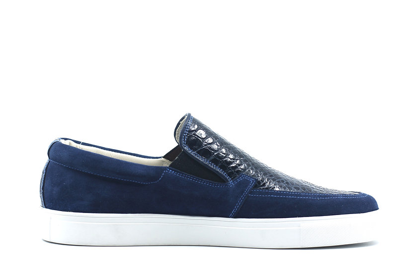Alligator Suede Slip On Sneaker