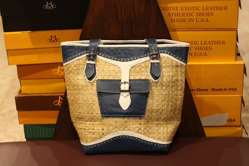Genuine Leather & Bamboo Picnic Bag