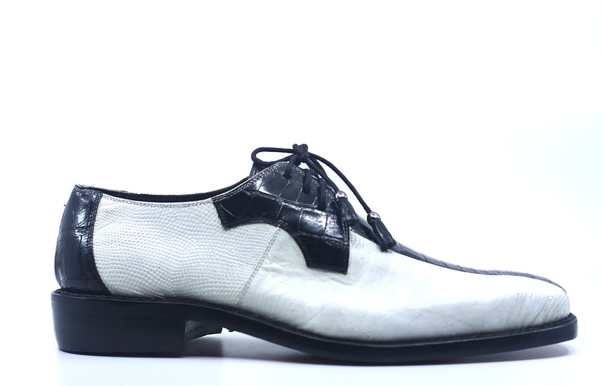 Black and White Alligator and Lizard Dress Shoes US Men's 11