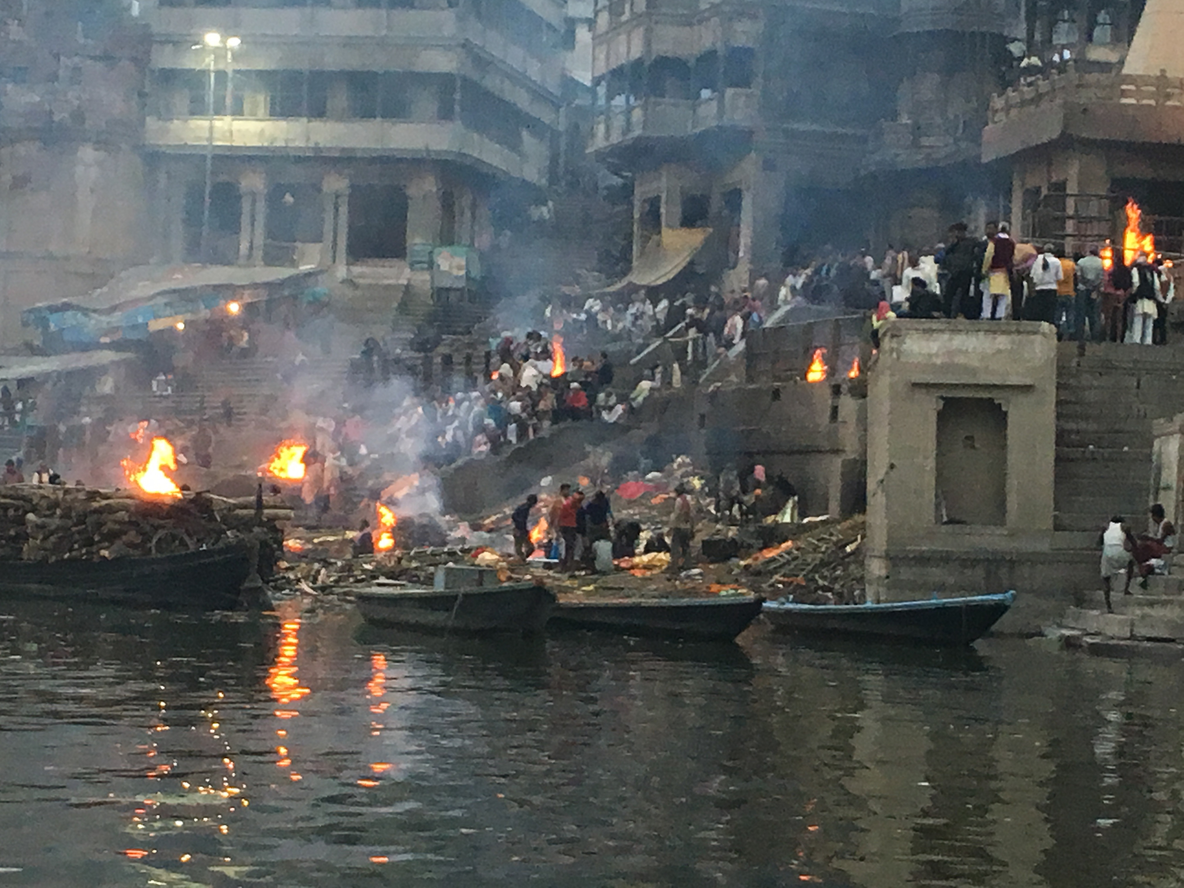 The burning ghat in the Ganges in Varanasi