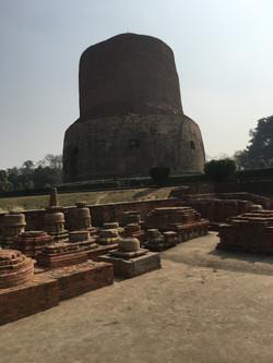 The stupa where Buddha gave his first sermon in Varanasi