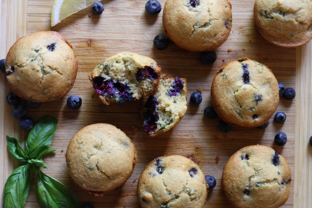 Paleo Blueberry Basil Lemon Muffins