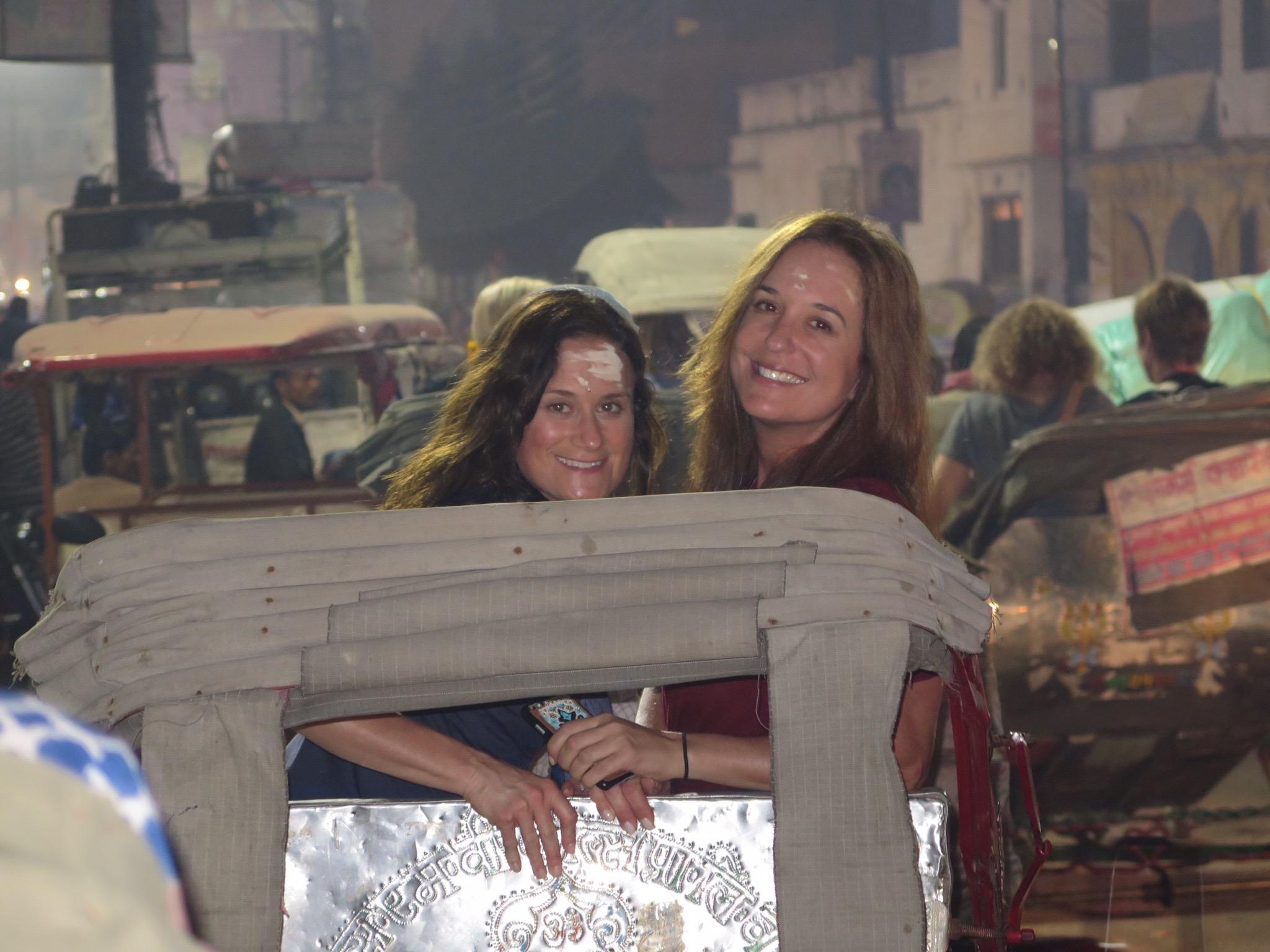 Me and Shel riding rickshaw style in Varanasi