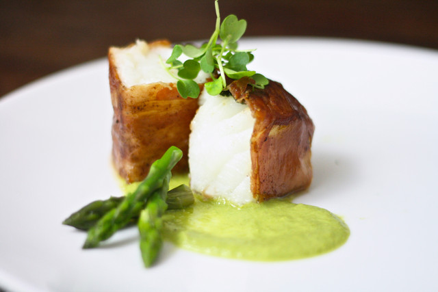 Prosciutto-Wrapped Halibut with Asparagus Purée