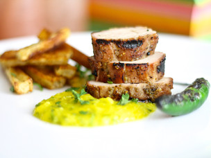 Grilled Pork with Anise-Seed Rub and Mango Mojo