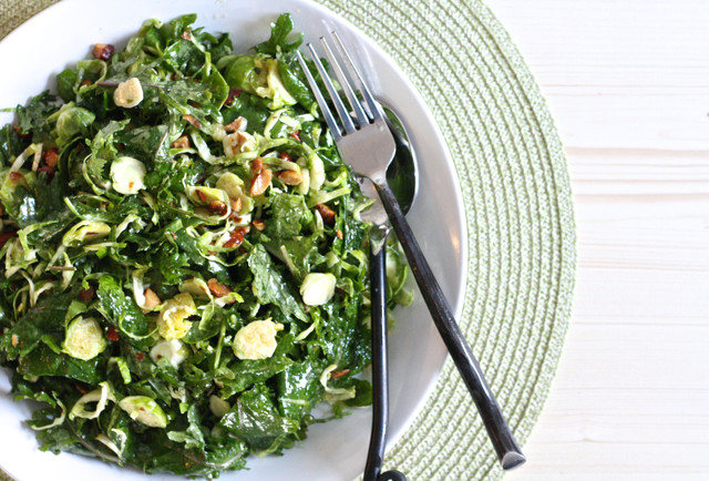 Kale and Shaved Brussels Sprout Salad