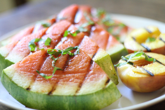 Grilled Watermelon and Peaches