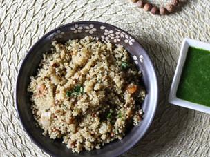 Quinoa Upma with Cilantro Mint Chutney - A Savory Indian Breakfast