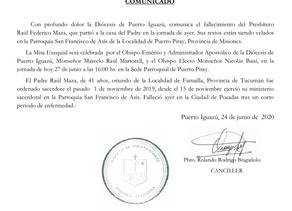 Comunicado fallecimiento del sacerdote de la Diócesis de Puerto Iguazú, el Padre Raúl Federico Maza.