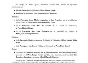 Comunicado nombramientos en la DIócesis de Puerto Iguazu