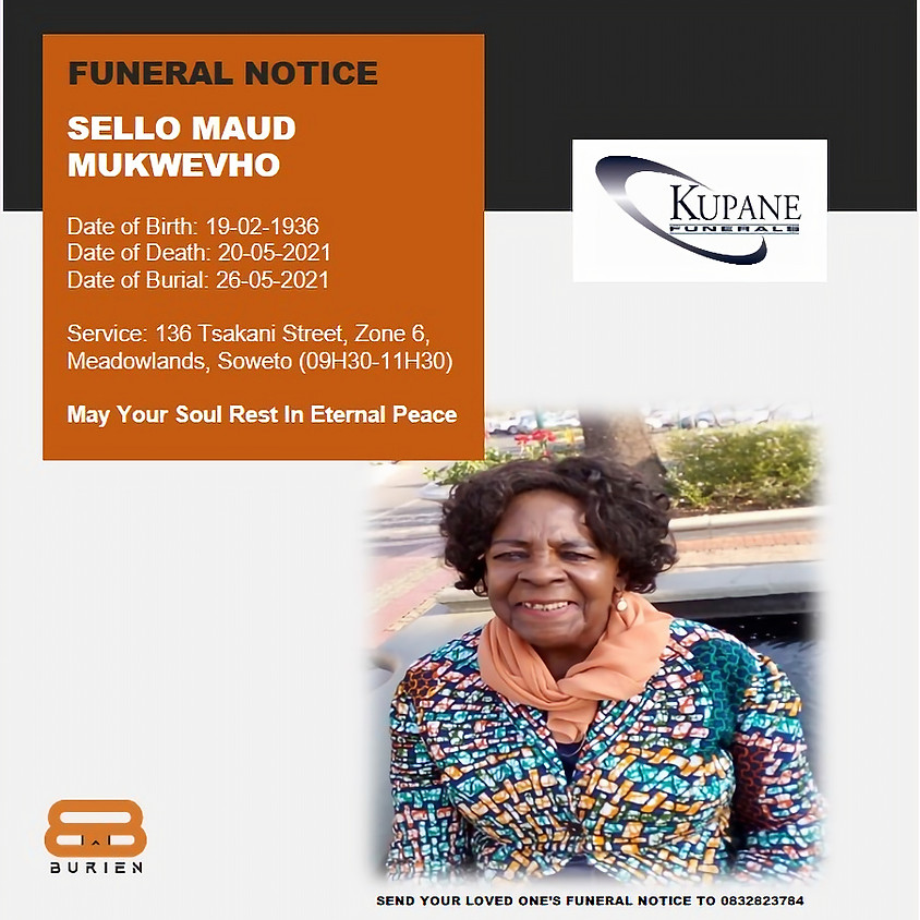 Funeral Notice of the late Sello Maud Mukwevho