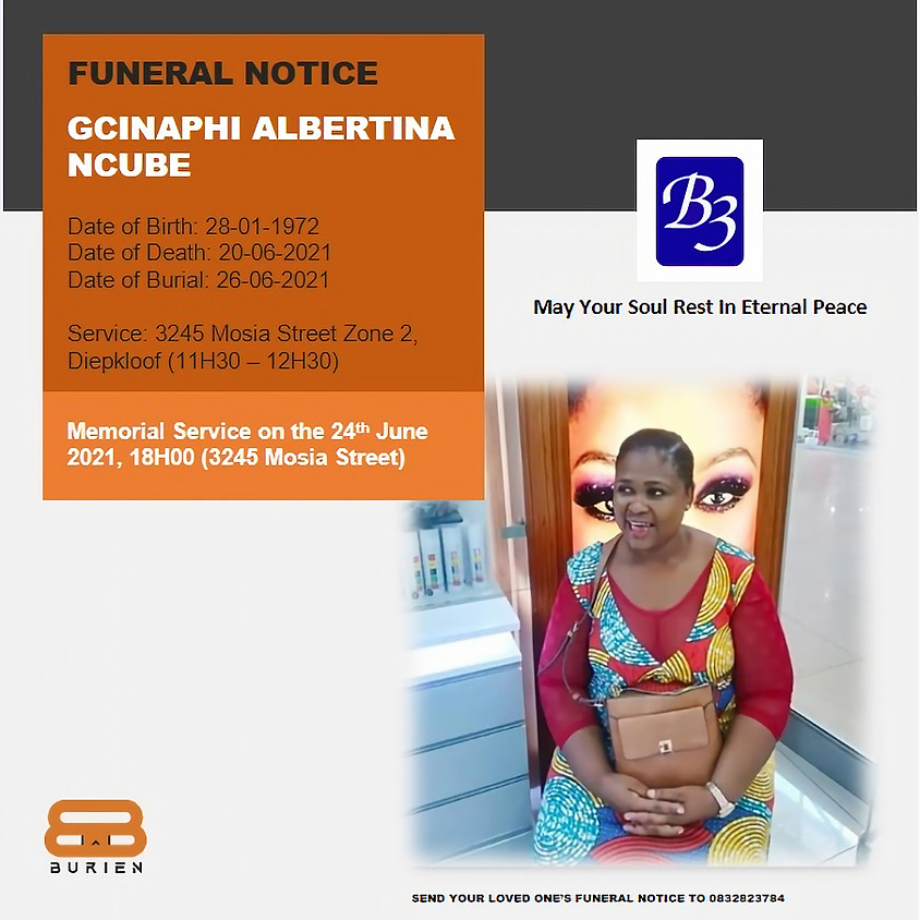 Funeral Notice of the late Gcinaphi Albertina Ncube