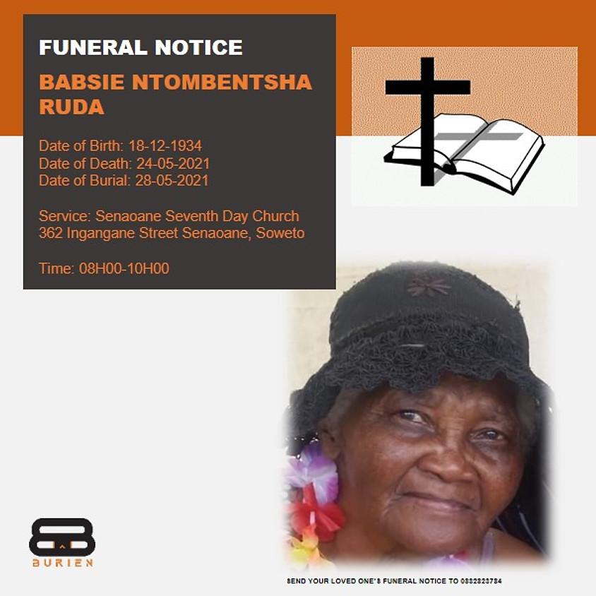 Funeral Notice of the late Babsie Ntombentsha Ruda