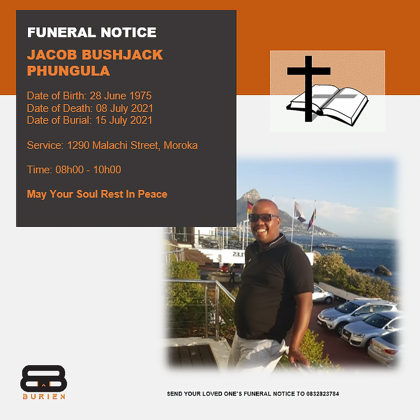 Funeral Notice Of The Late Jacob Phungula