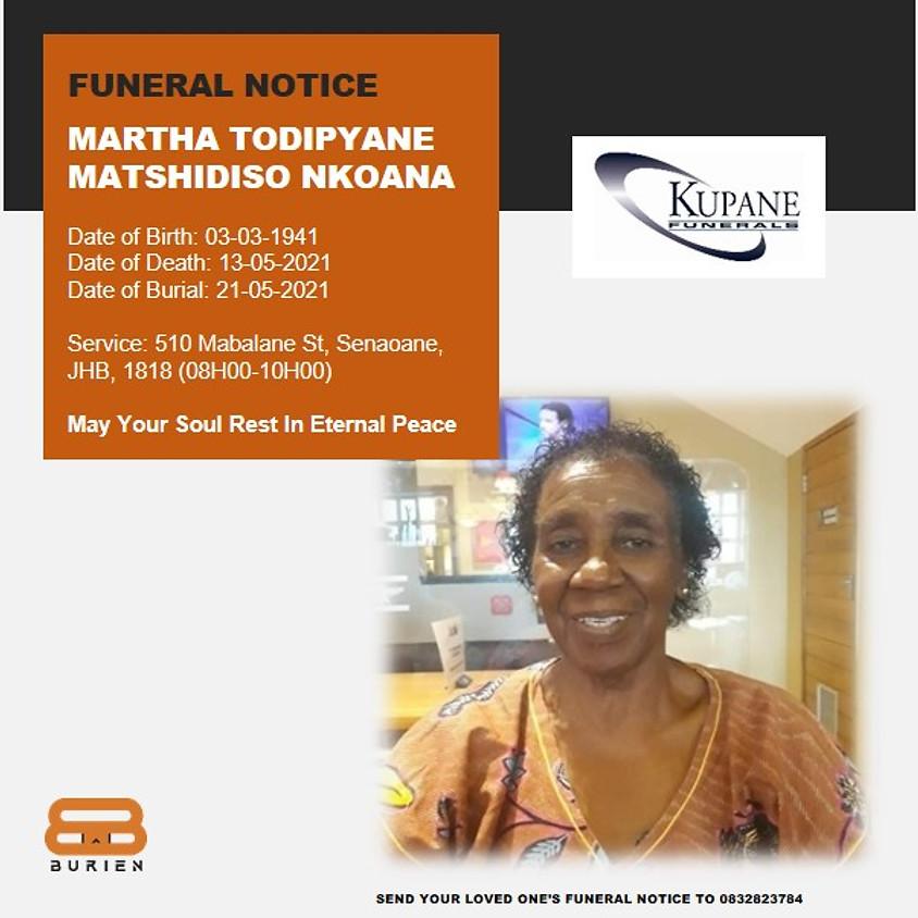 Funeral Notice of the late Martha Todipyane Matshidiso Nkoana