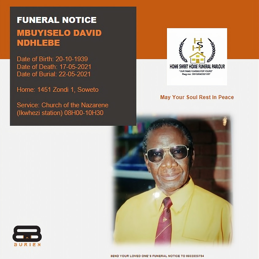 Funeral Notice of the late Mbuyiselo David Ndhlebe