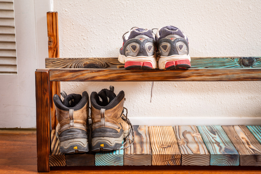 Shou Sugi Ban Shoe Rack