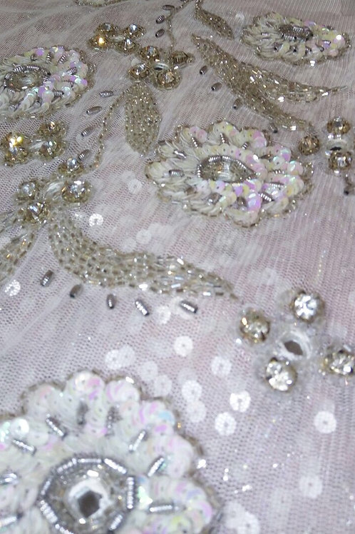 Brie -  Silver cut, spiral bugle beads, clear glass on tulle